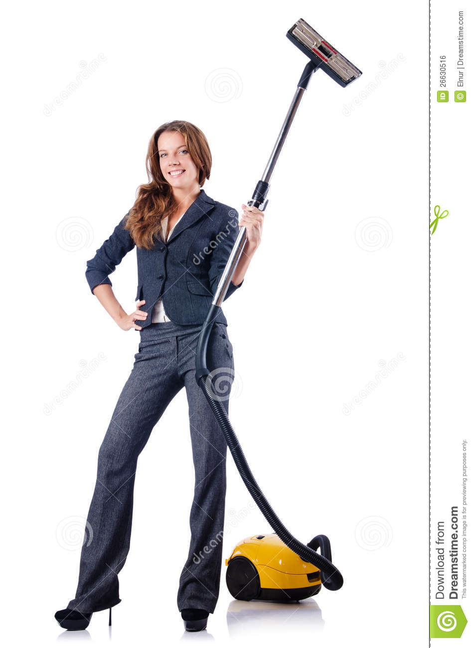 Woman Cleaning With Vacuum Cleaner Royalty Free Stock