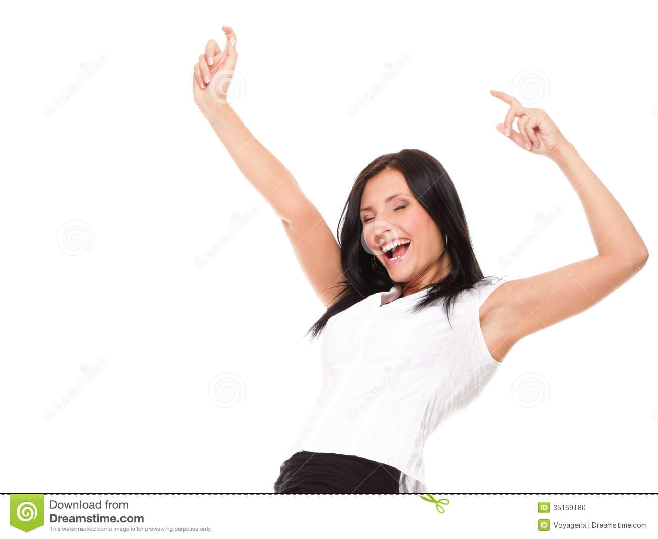 Woman Clenching Arms In Excitement Stock Photo - Image ...