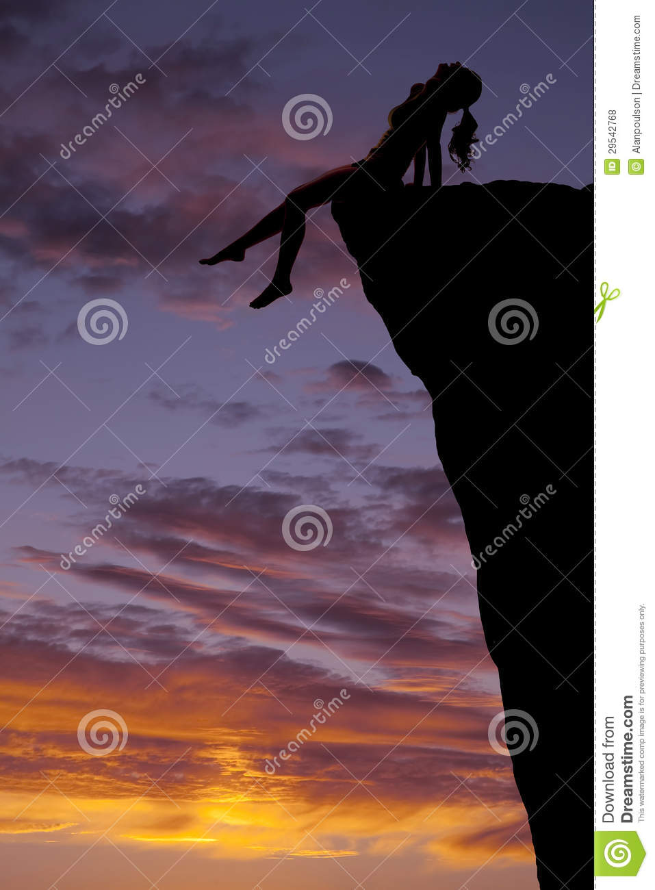 Woman On Cliff Silhouette Sunset Legs Royalty Free Stock ...