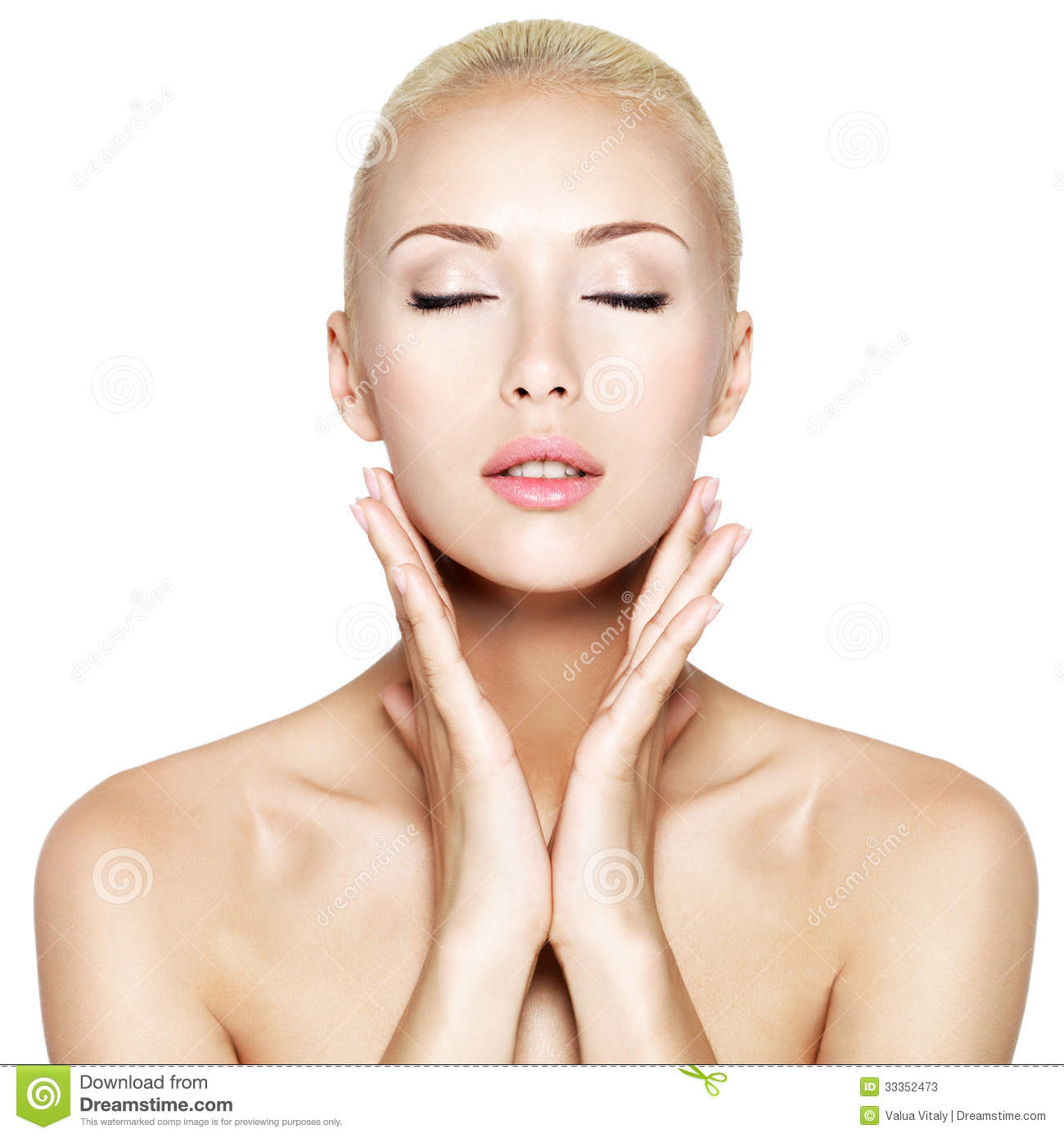 Woman With Closed Eyes And Hands At Health Face Stock