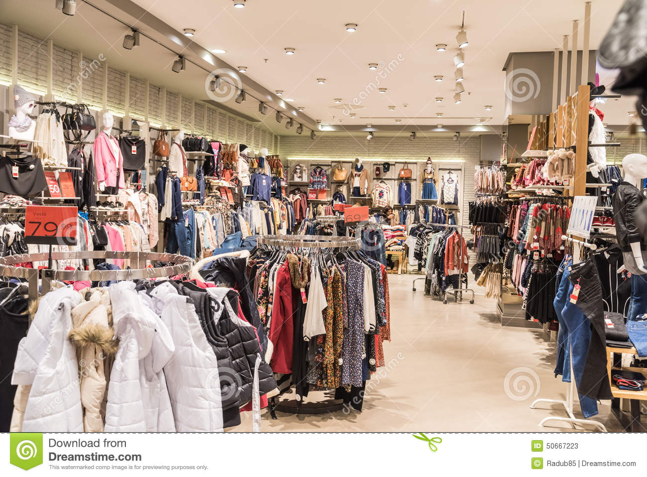 clothes in shopping mall store inside editorial