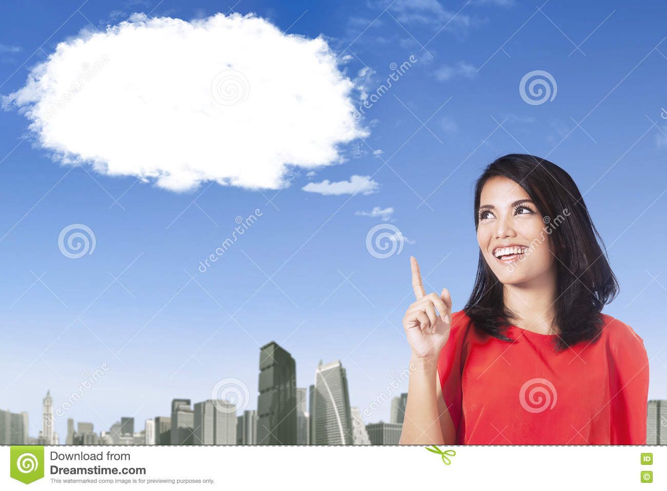 Woman with cloud thinking idea