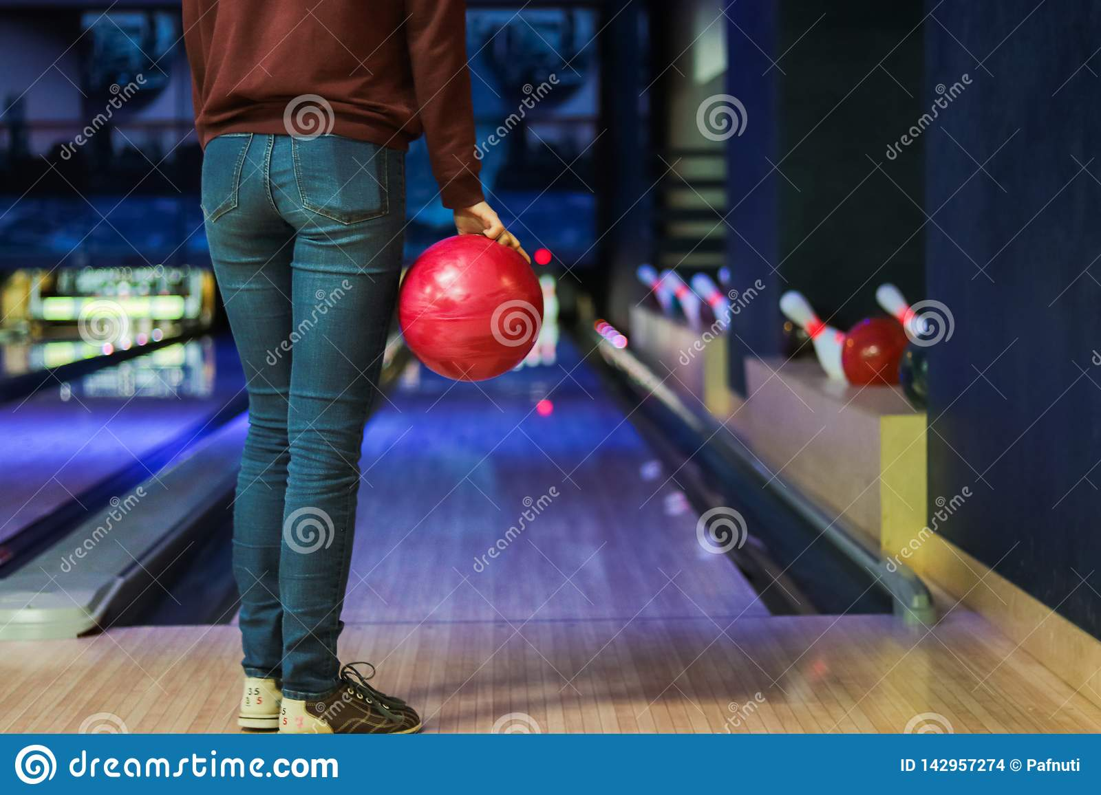 Woman in club for bowling