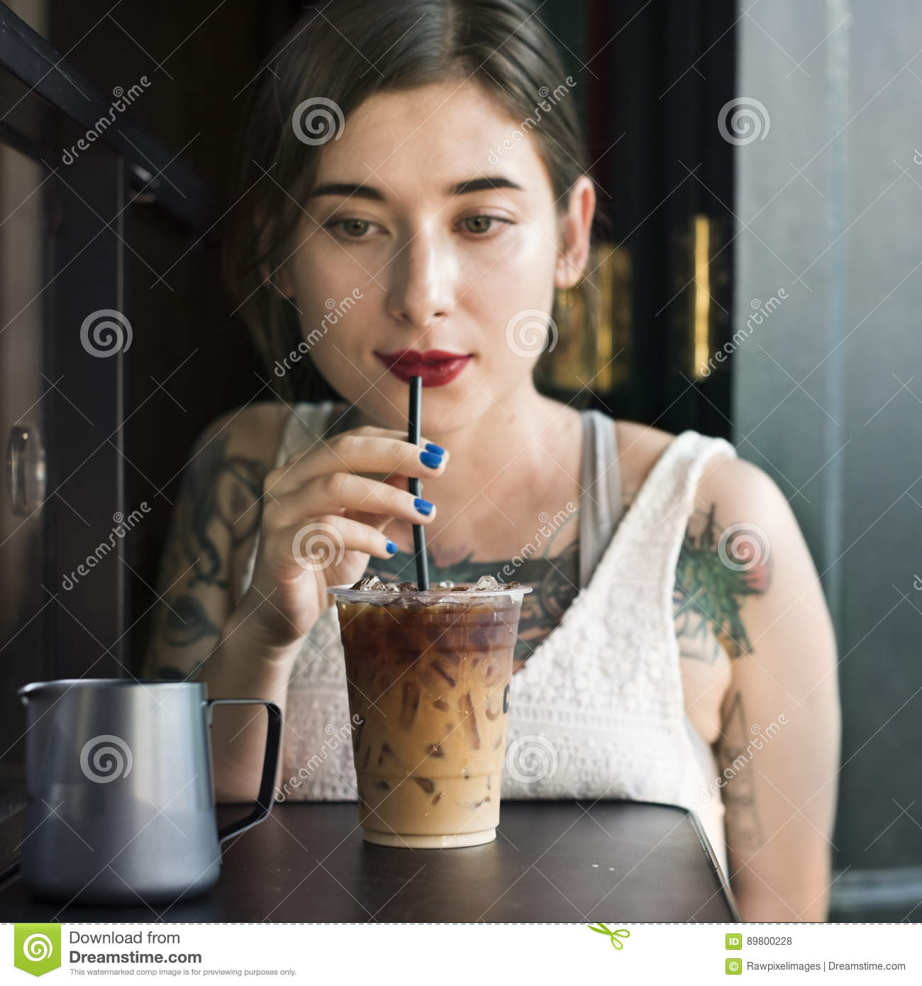 Woman Coffeeshop Drink Relaxation Tattoo Concept