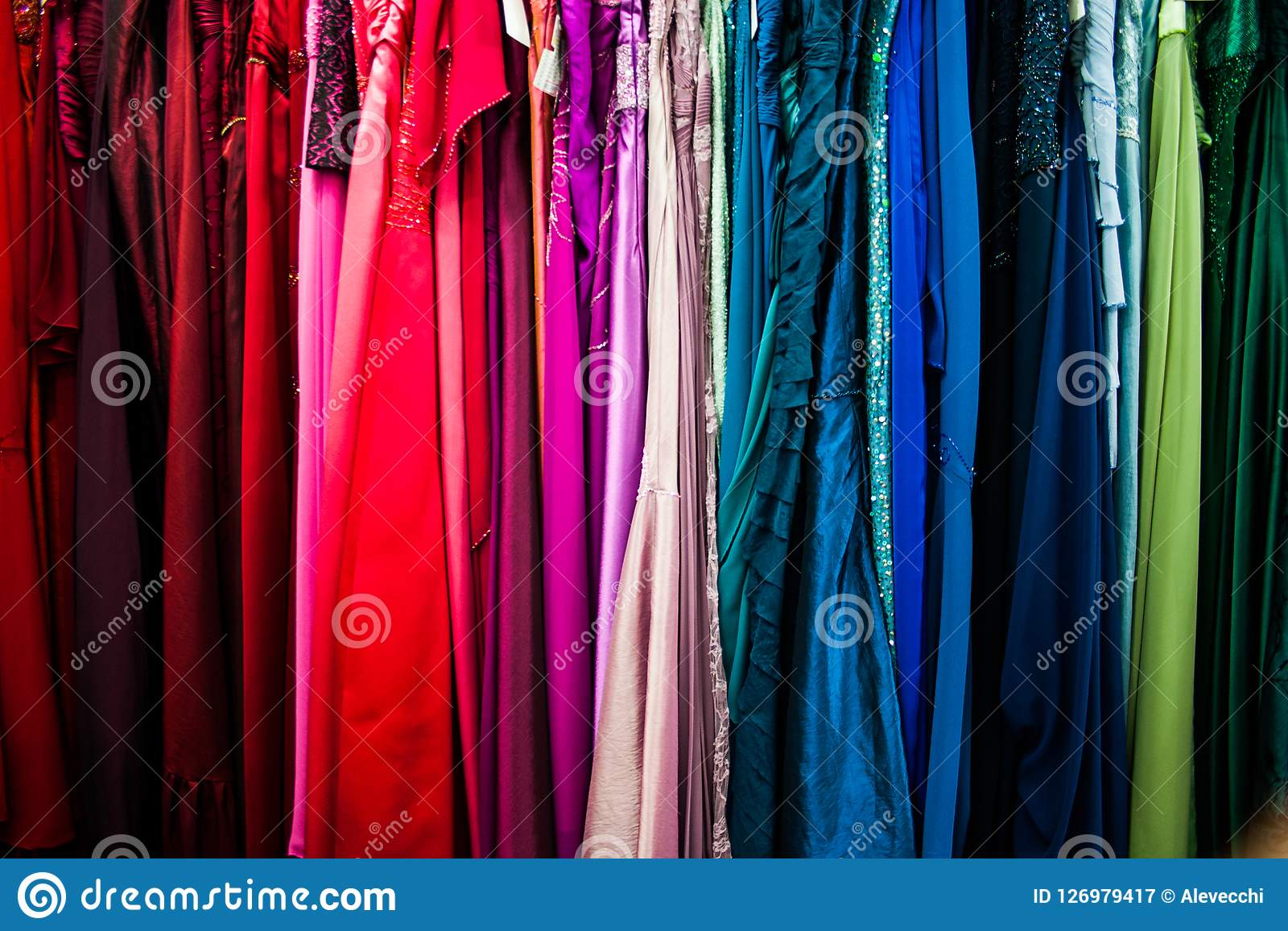 Woman colorful dresses for sale.