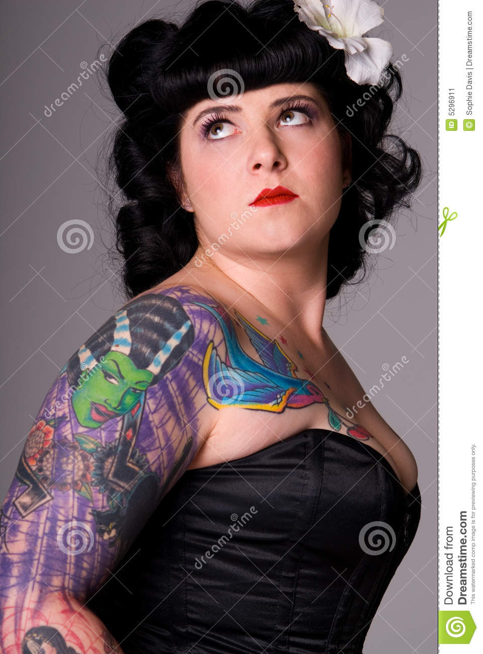 Woman with colorful tattoos.