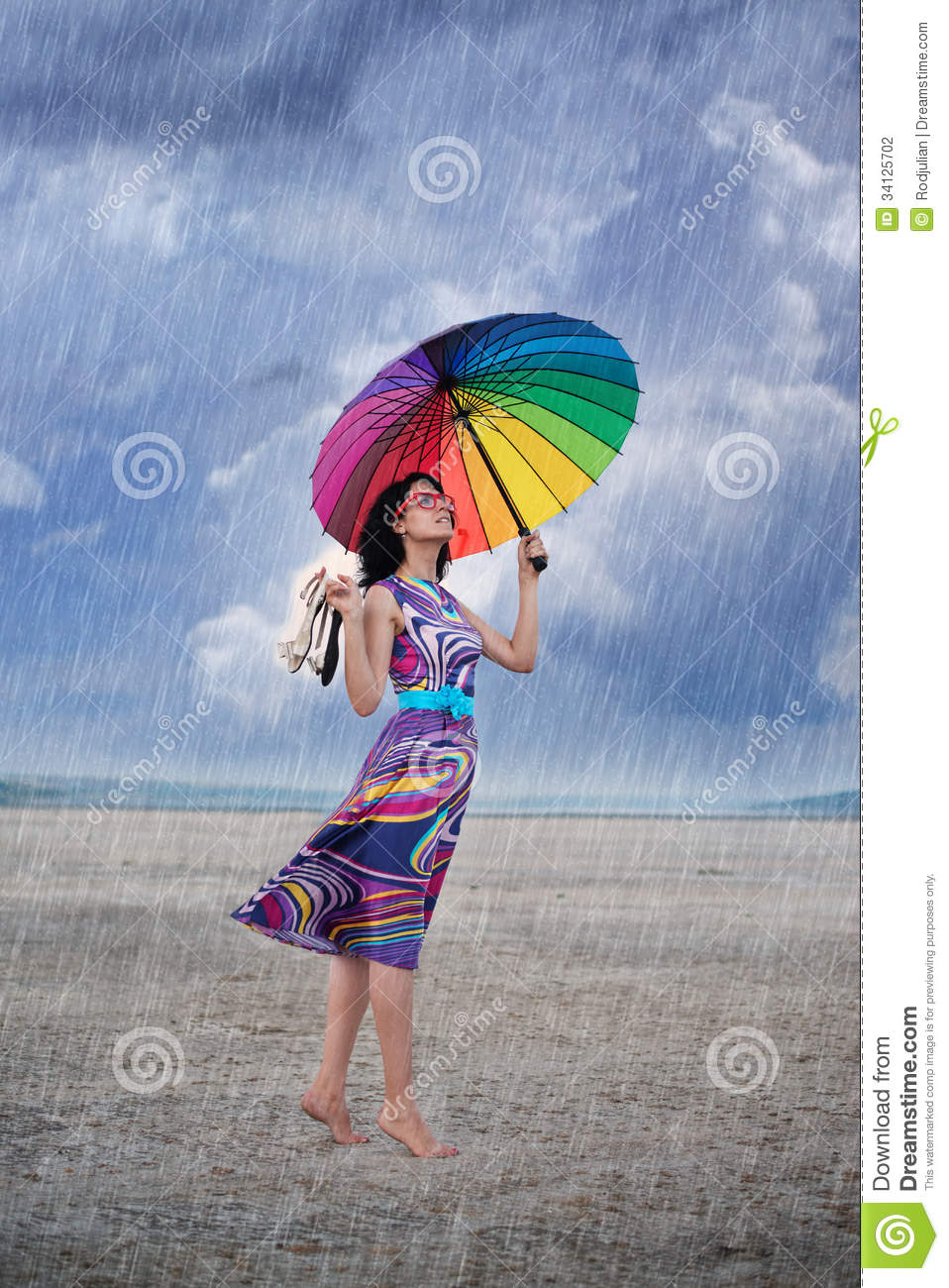 Woman With Colorful Umbrella Under The Rain Stock Photo - Image of ... for Colorful Umbrella Photography  8lpfiz