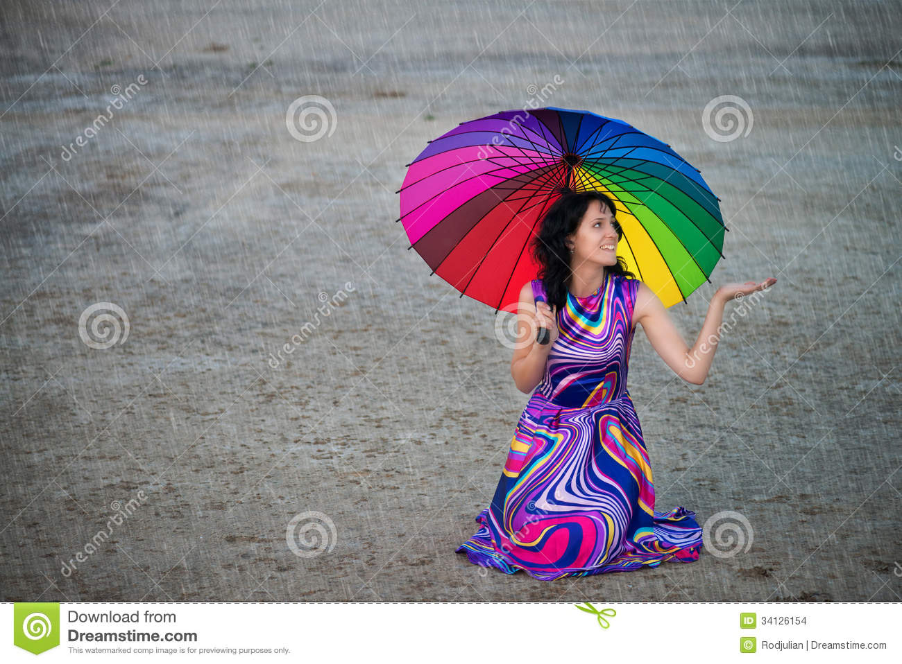 Woman With Colorful Umbrella Under The Rain Stock Photo ...