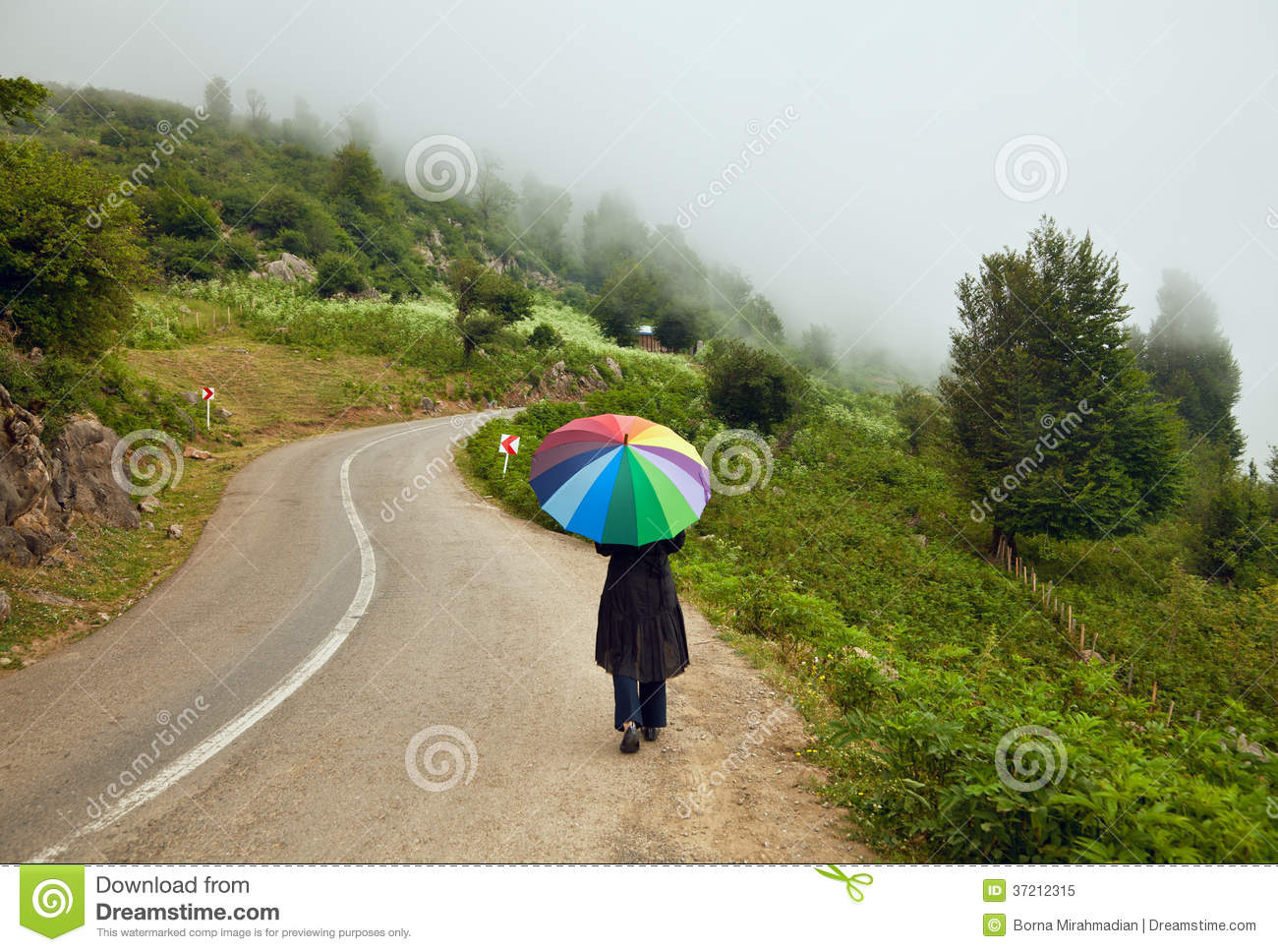 Woman With Colorful Umbrella Walking Down A Foggy Winding Road