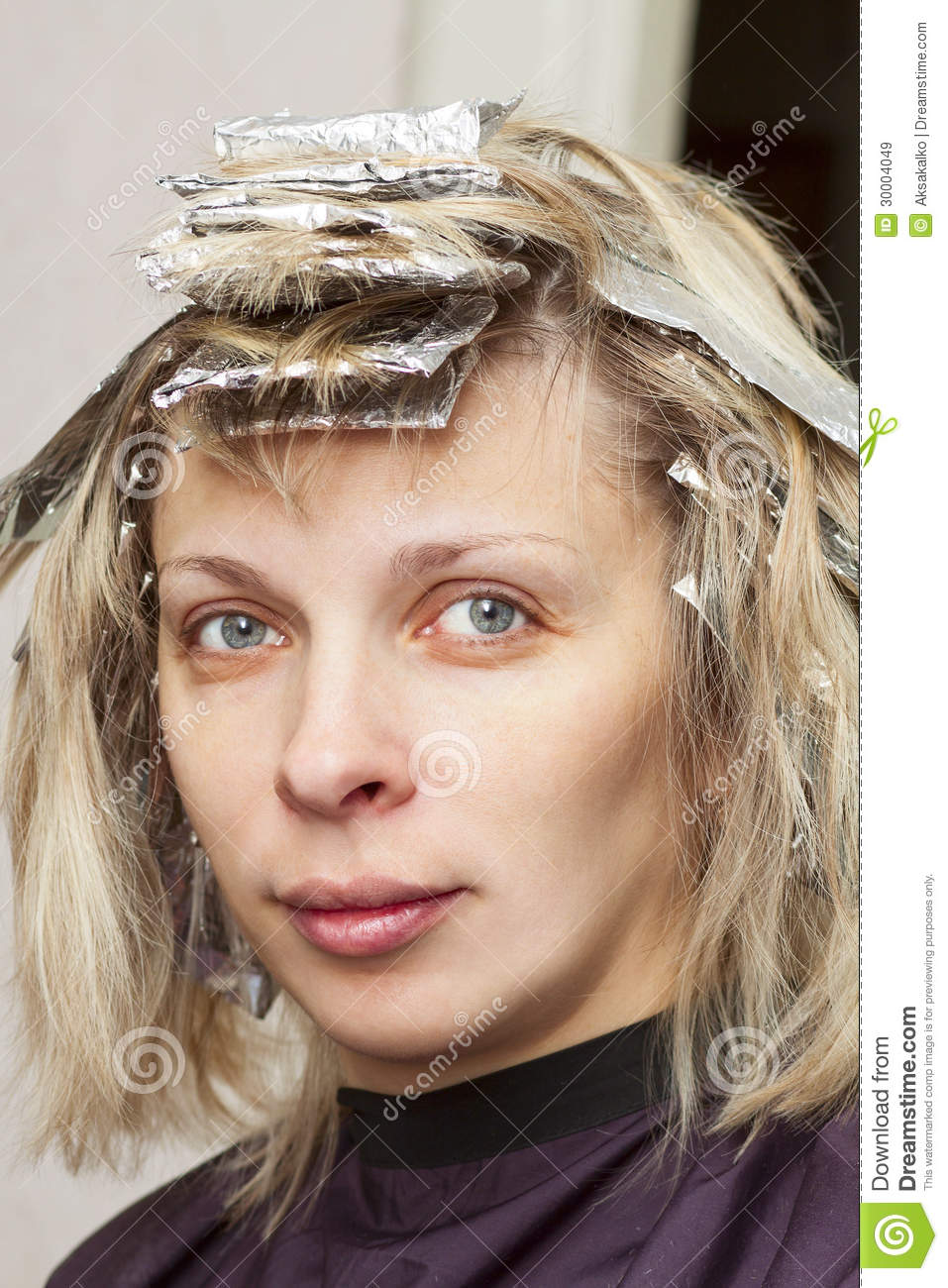 Woman With Coloring Foil On Her Hair Stock Image Image