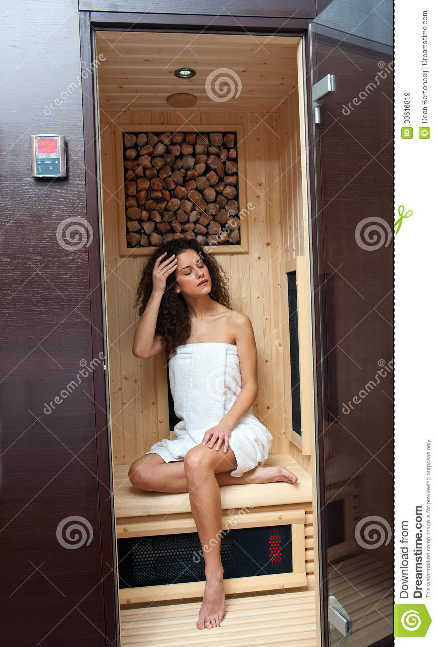Woman In Compact Sauna Stock Image Image Of Attractive