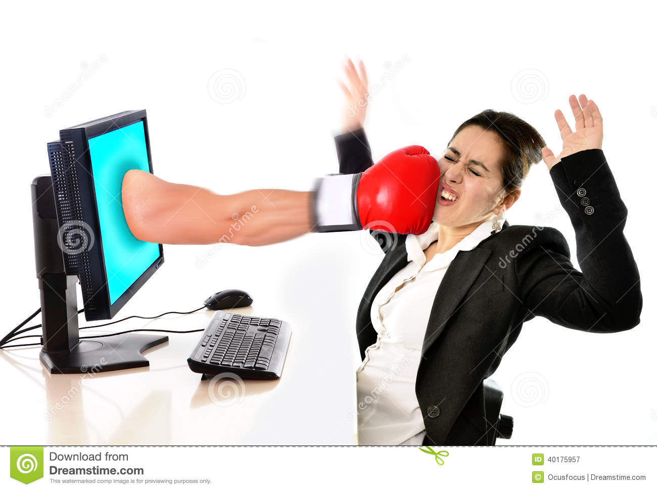 Woman With Computer Hit By Boxing Glove Social Media Cyber