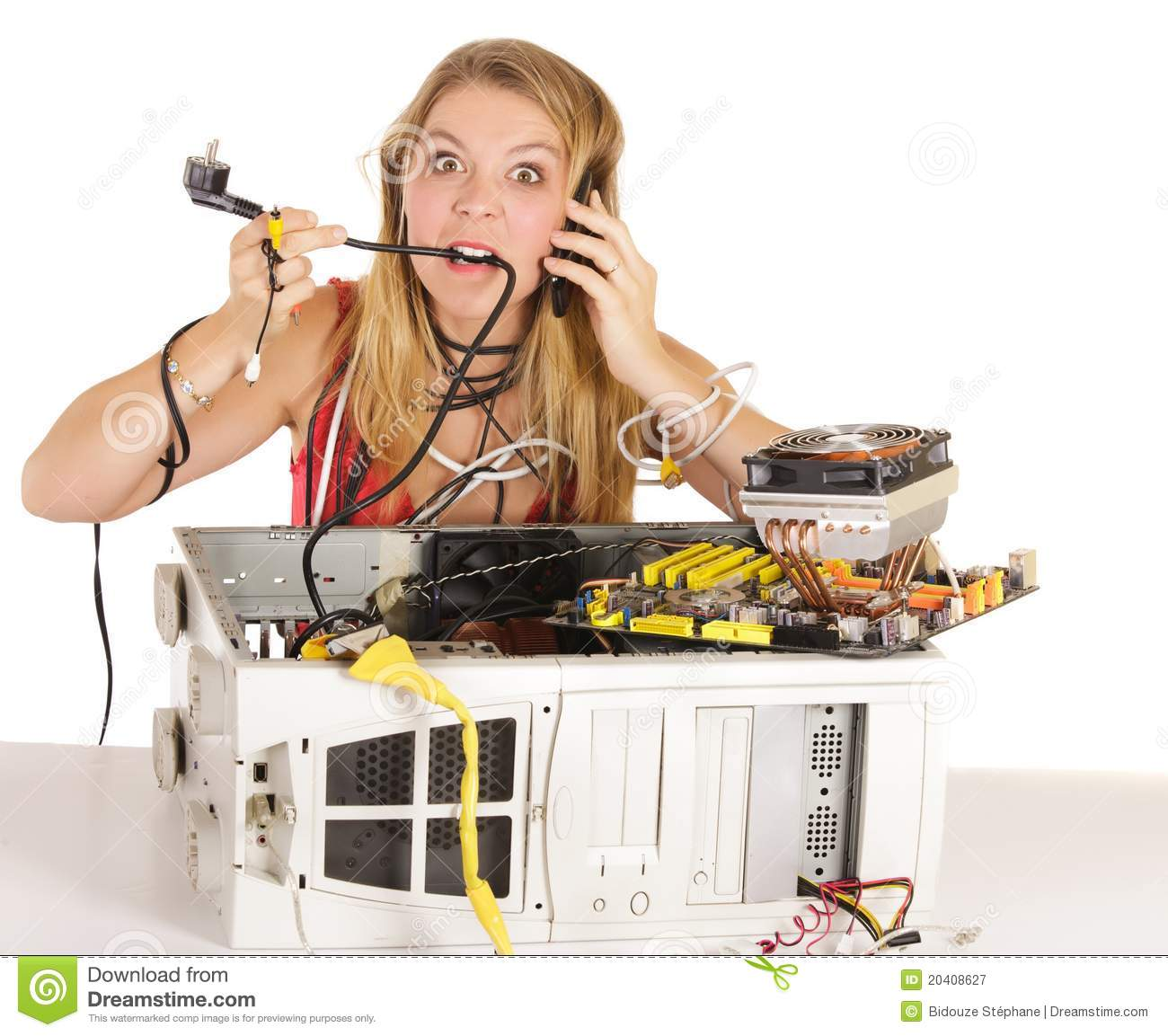 Woman Computer Problem Royalty Free Stock Photography