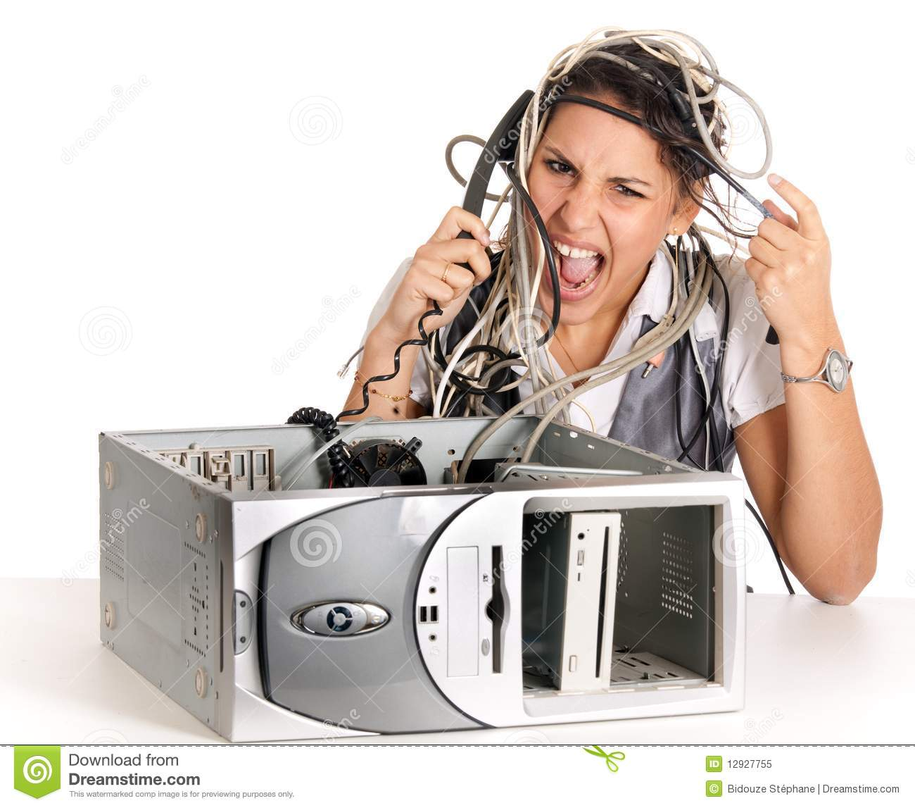 Computer Trouble: Woman Computer Problems Royalty Free Stock Photo