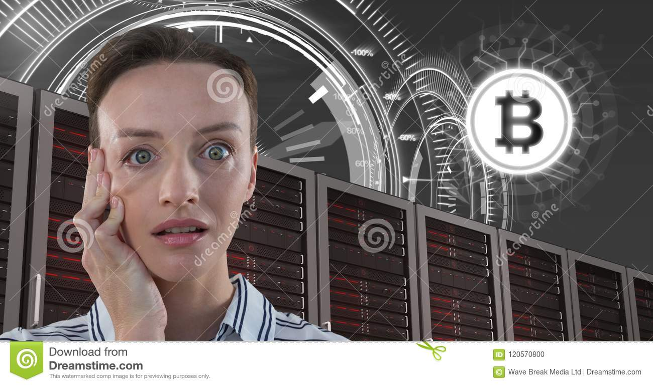 Woman with computer servers and bitcoin technology information interface
