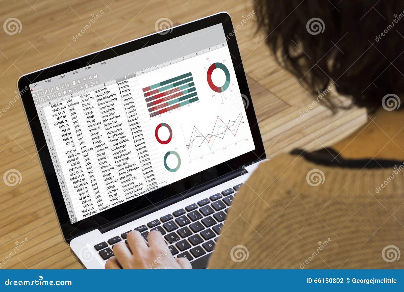 Woman Computer Spreadsheet Stock Photo Image 66150802