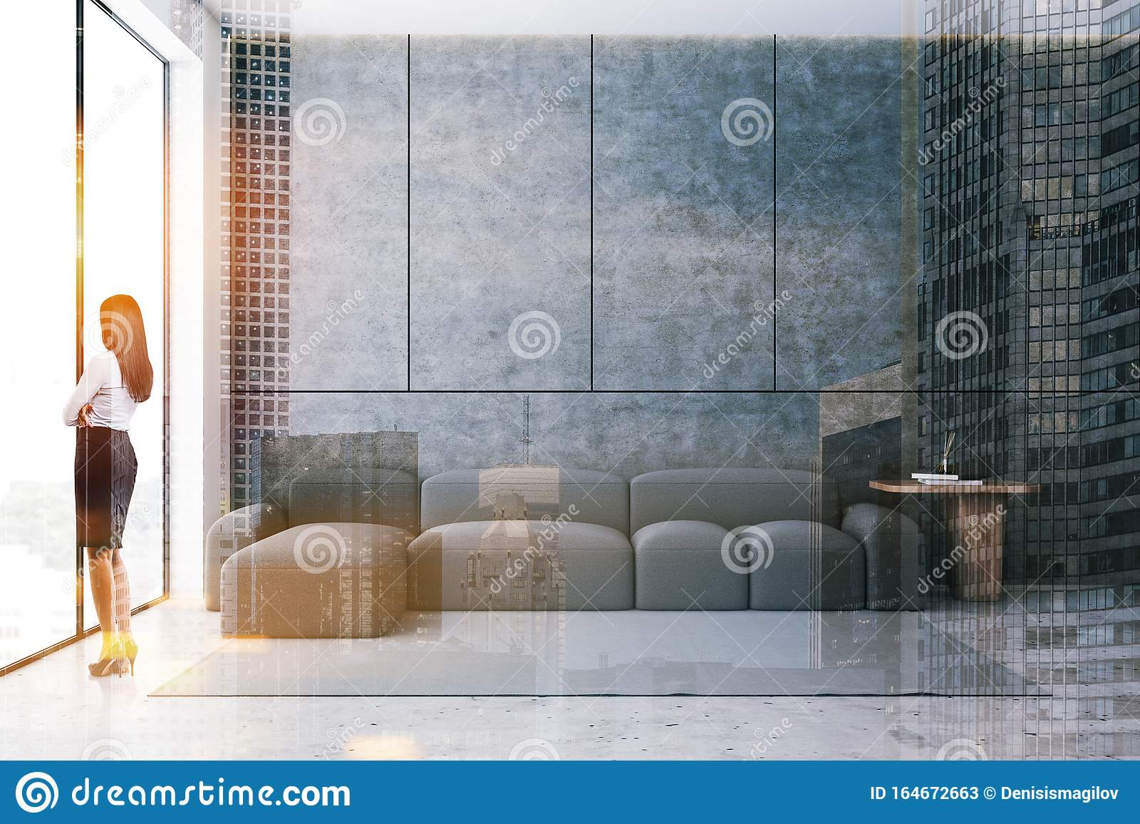 Woman In Concrete Living Room With Sofa Stock Image Image Of Double Panoramic 164672663