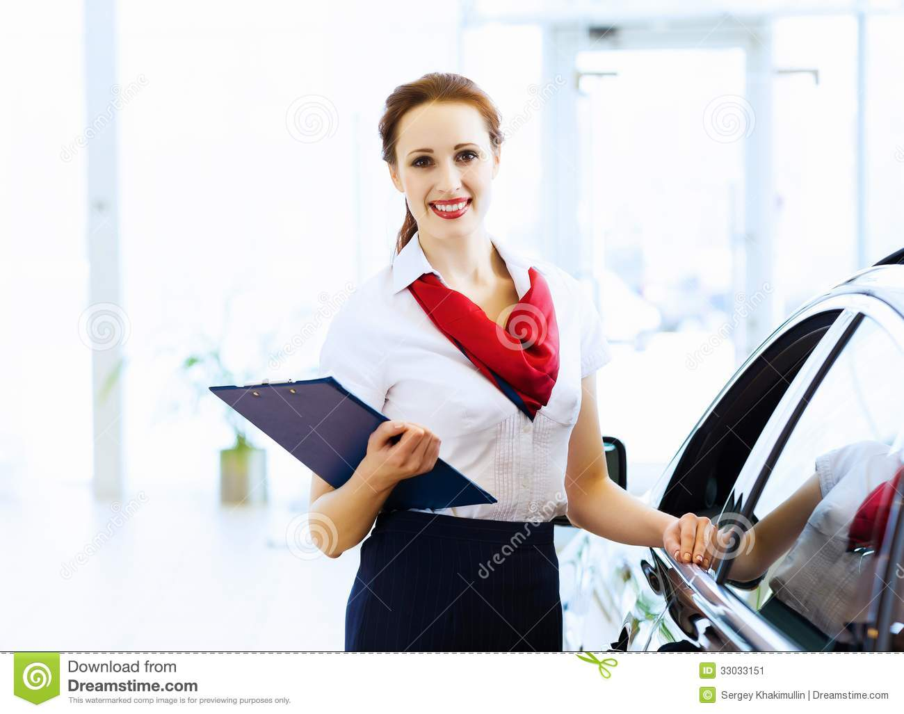 Woman consultant at car salon stock image image 33033151 for Salon younga