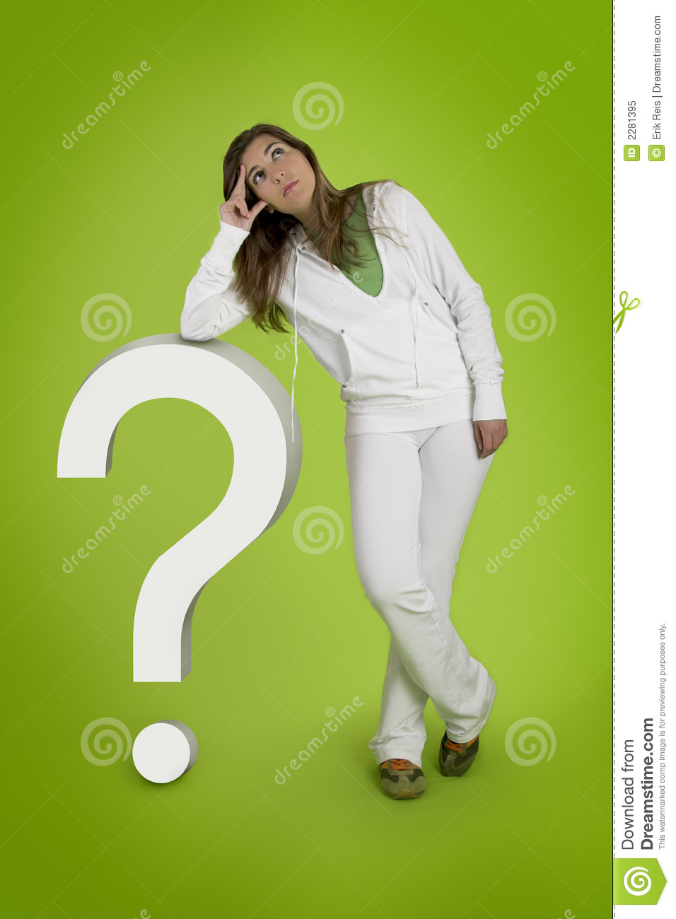 woman contemplating questions royalty free stock photo