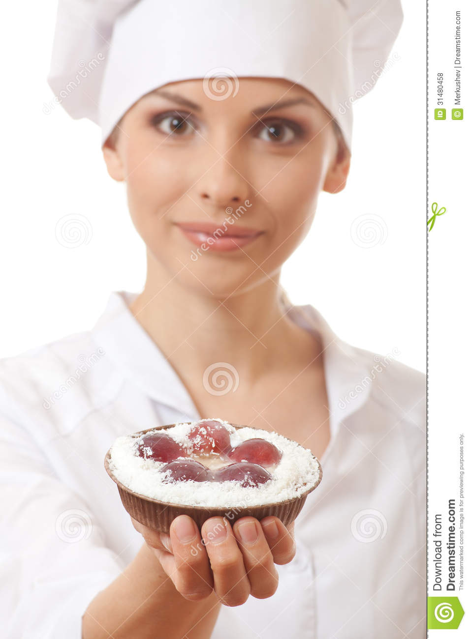 Woman Cook Holding Cake Stock Photo Image Of Cooking