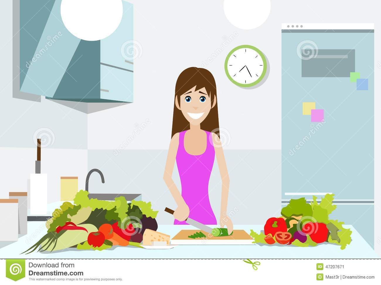 Woman cook kitchen, young girl chopping vegetables cooking at home ...