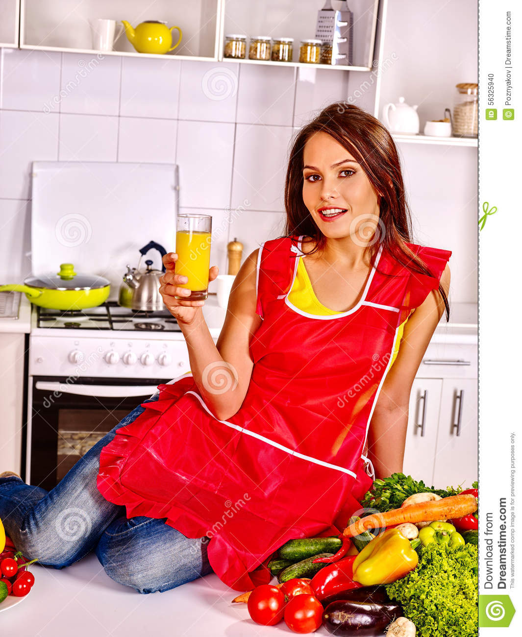 Woman Cooking Breakfast At Kitchen Stock Photo