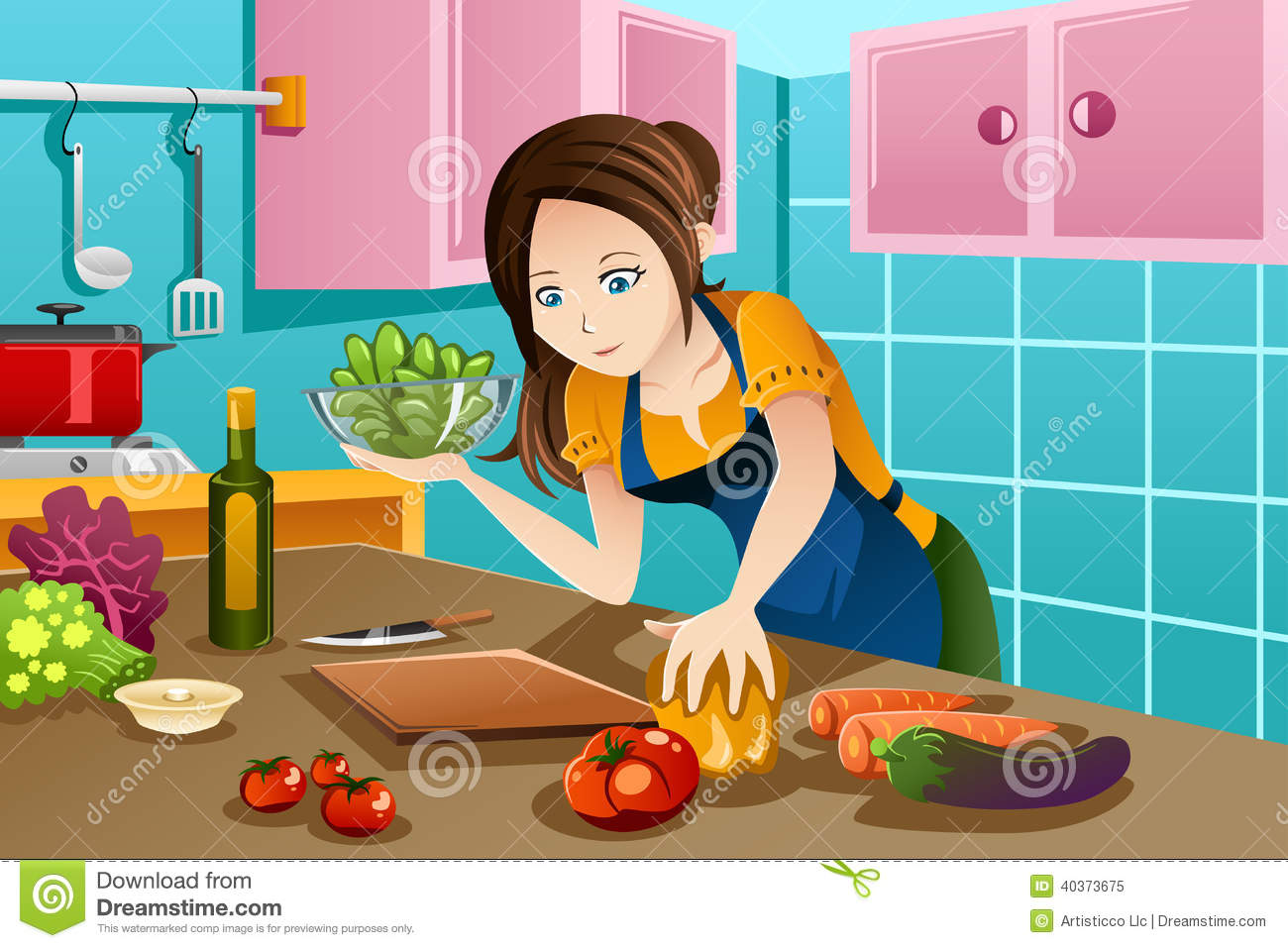 Woman Cooking Healthy Food In The Kitchen Stock Vector ...