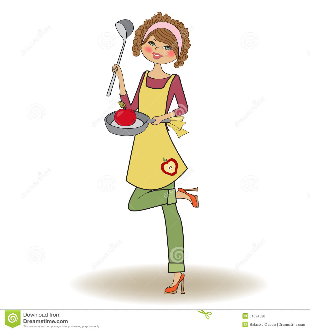 Woman cooking stock vector. Image of housewife, isolated ...