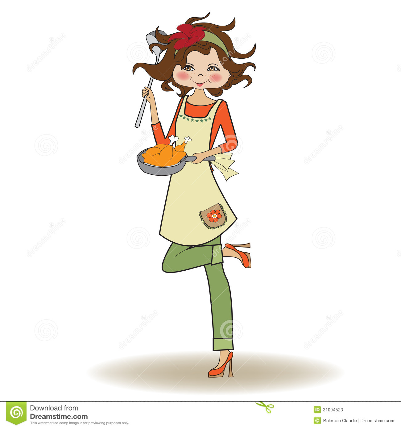 Woman cooking stock vector. Illustration of cheerful ...