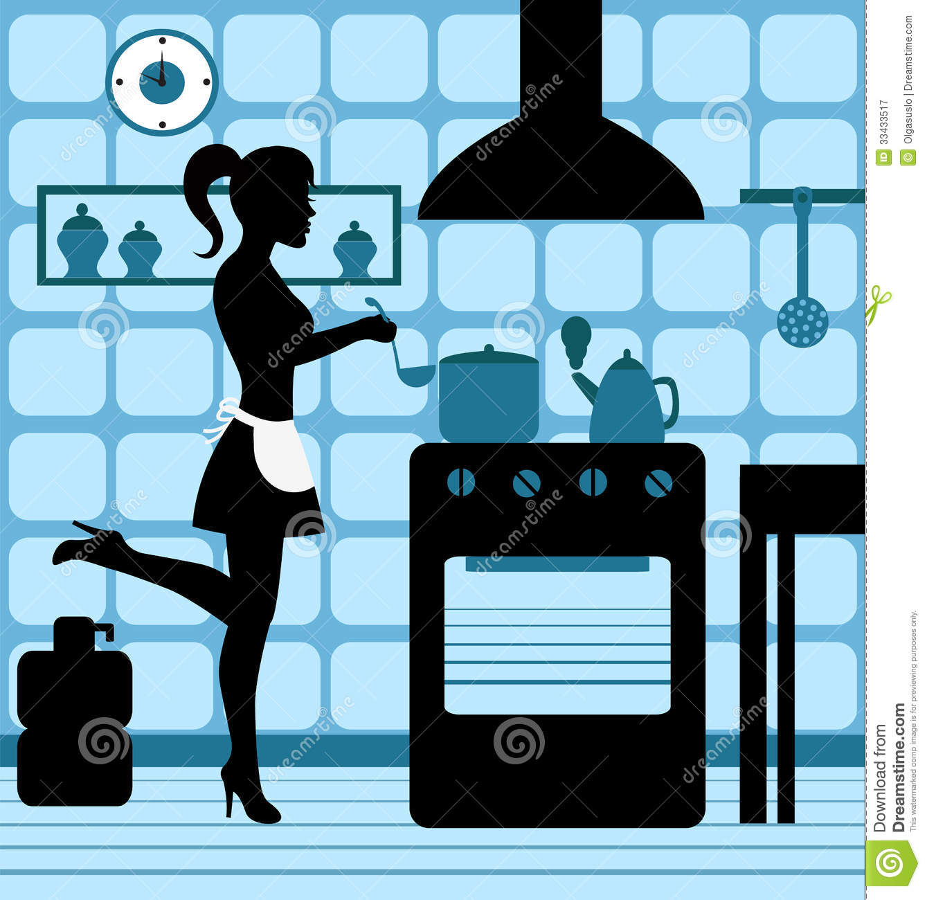 Woman Cooking In The Kitchen Royalty Free Stock ...