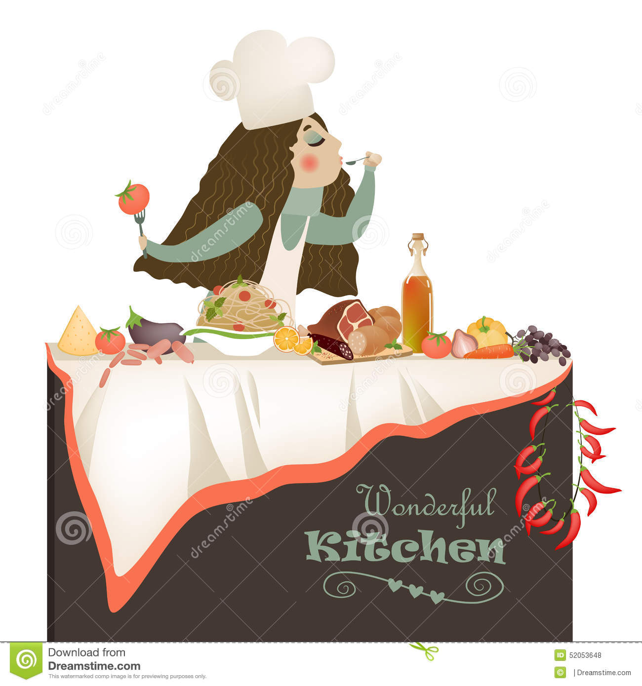 Woman Cooking In The Kitchen Stock Vector - Image: 52053648