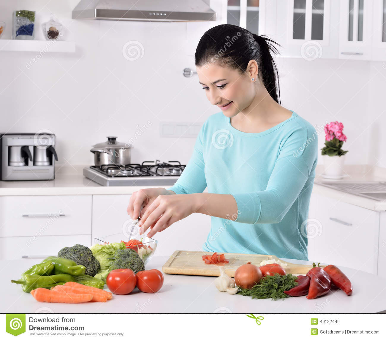 Women Kitchen: Woman On Kitchen Cartoon Vector