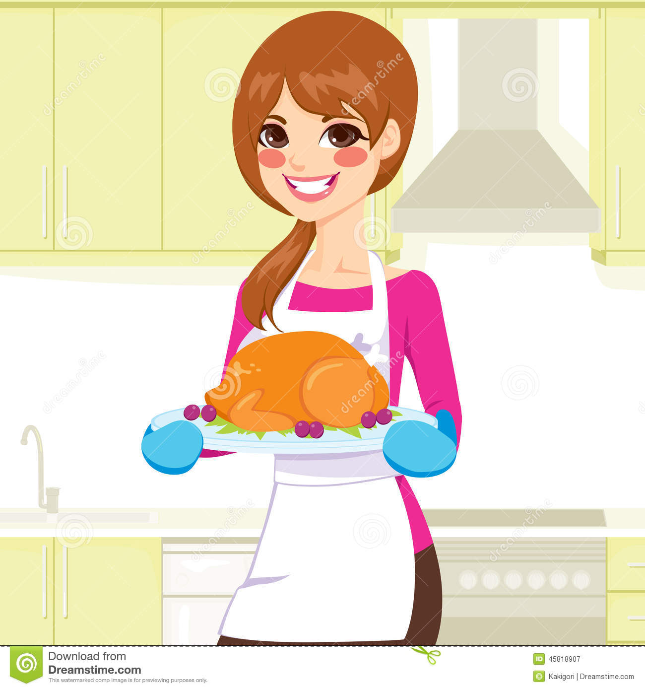 woman cooking thanksgiving turkey stock vector image 45818907 thanksgiving cooked turkey clipart cooked turkey clipart black and white