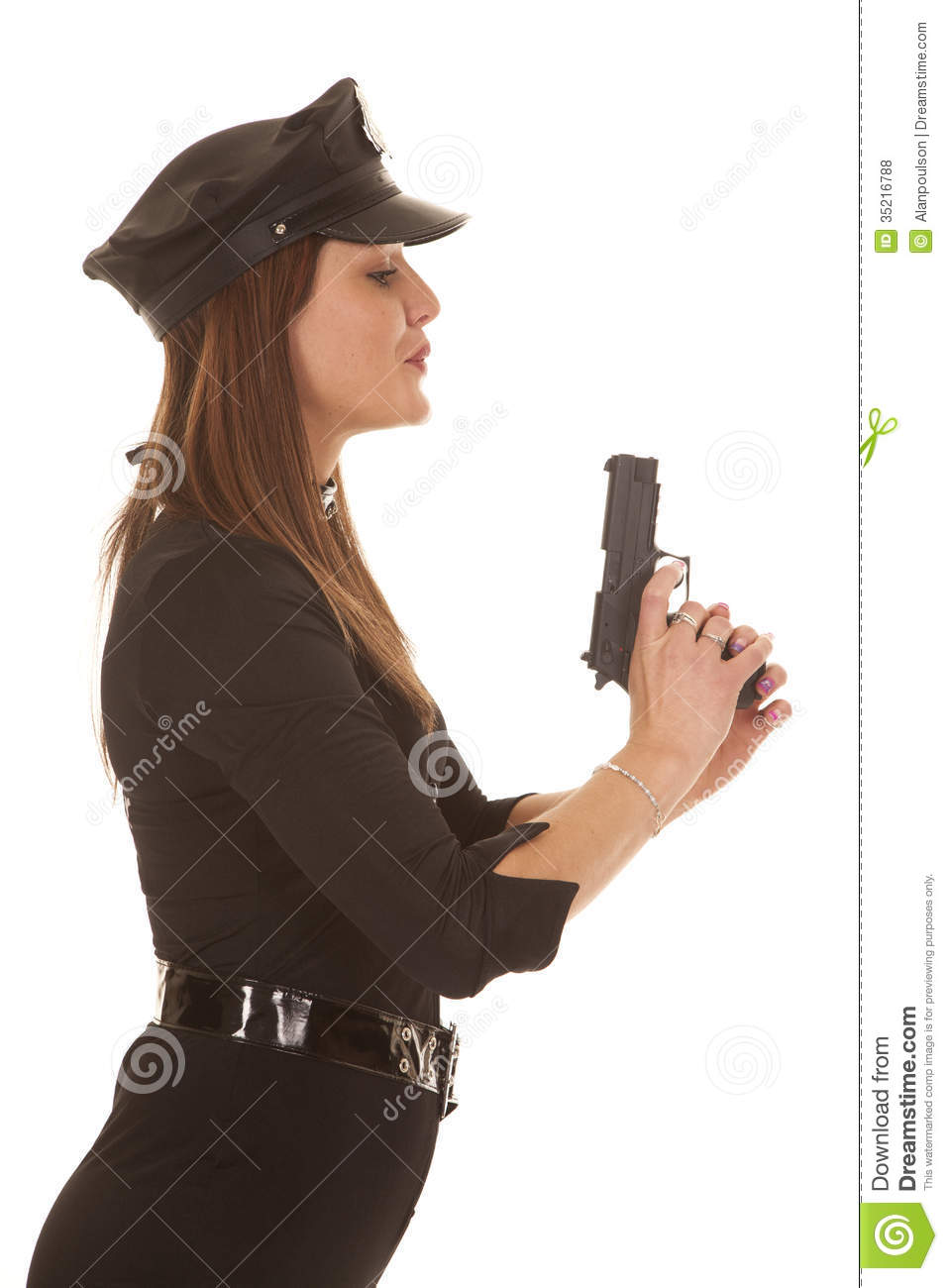 Woman Cop Blowing On Pistol Royalty Free Stock Photos ...