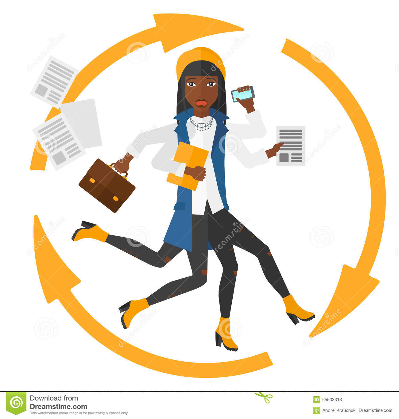 Business Woman Coping With Multitasking. Vector ...