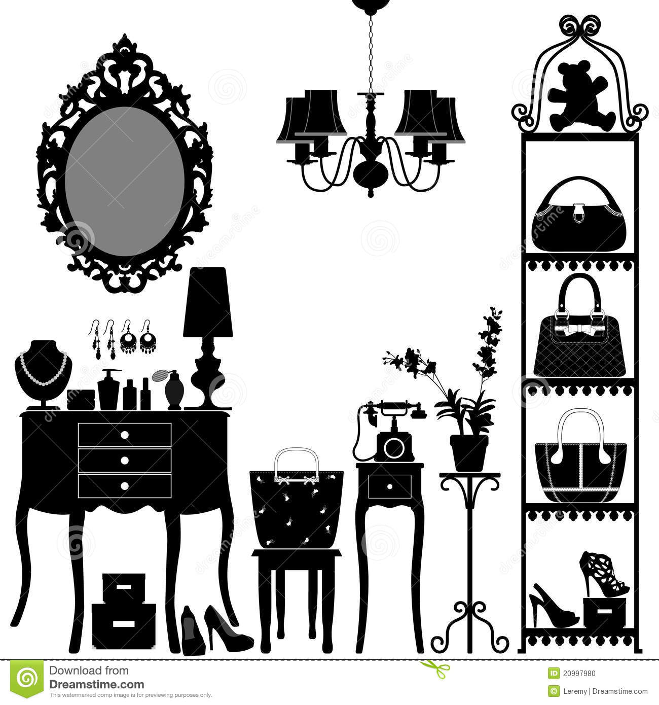 Woman Cosmetic Accessories Room Furniture Stock Photo