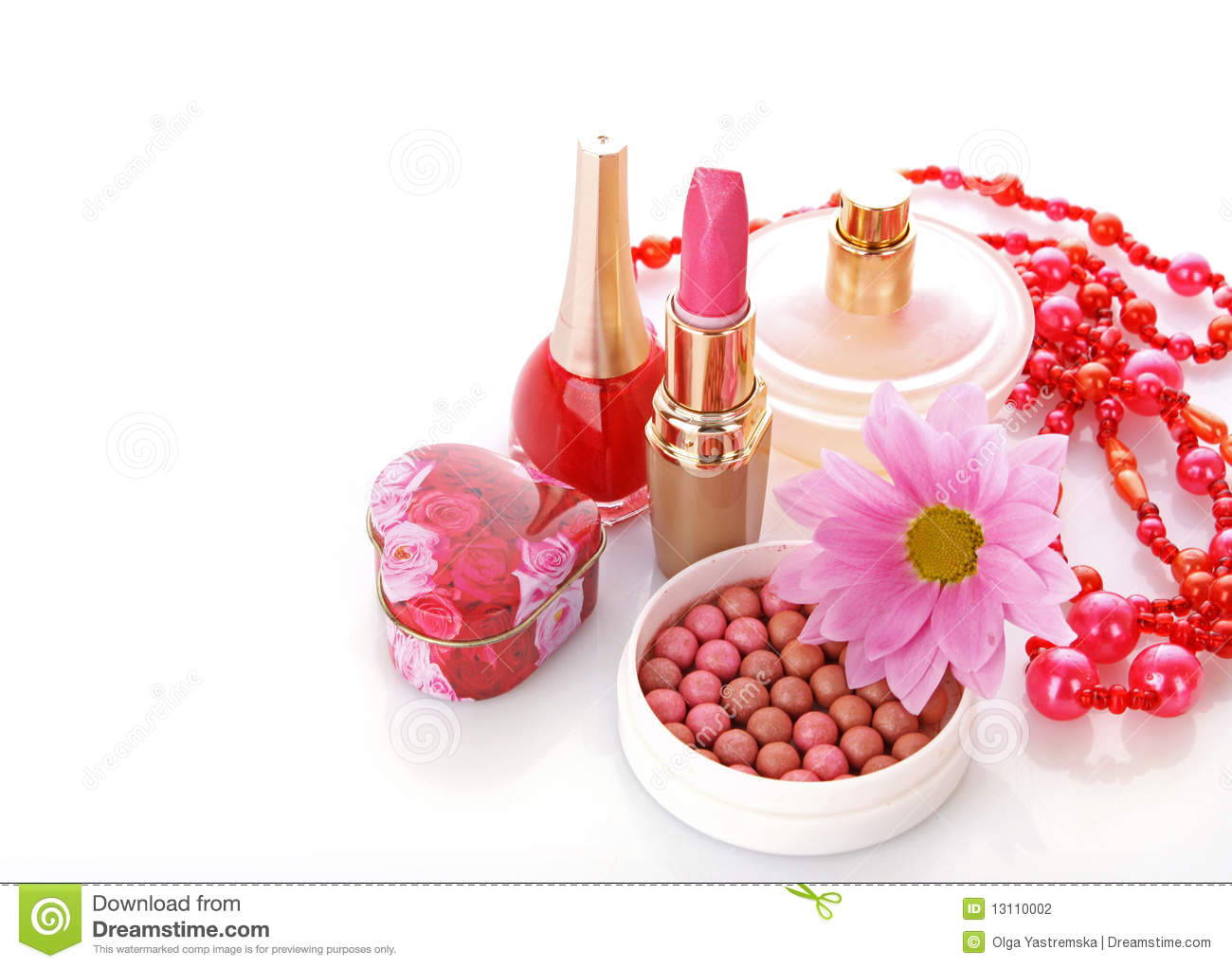Woman Cosmetics With Flower Stock Photo Image Of Color Makeup