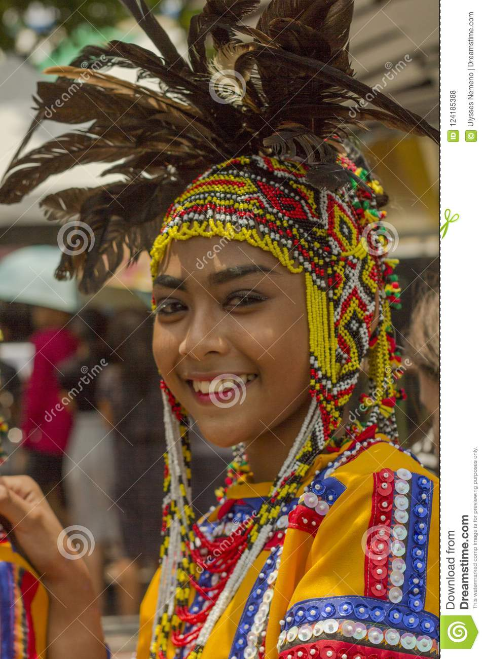 Woman In Costume As Participant In Davao`s Ndak-indak During