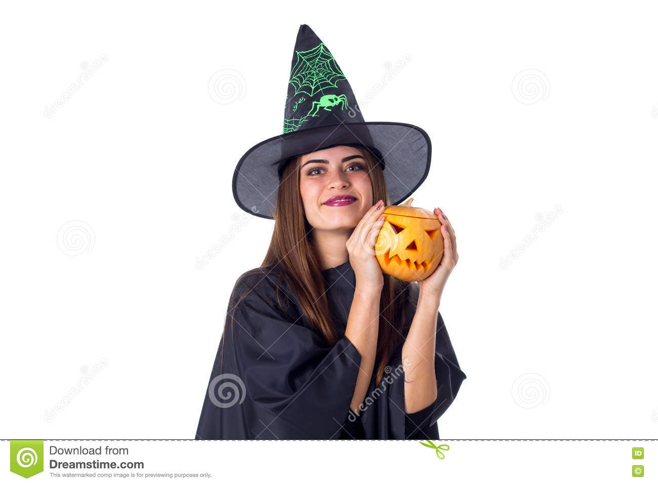 Woman In Costume Of Witch Holding A Pumpkin Stock Photo - Image ...