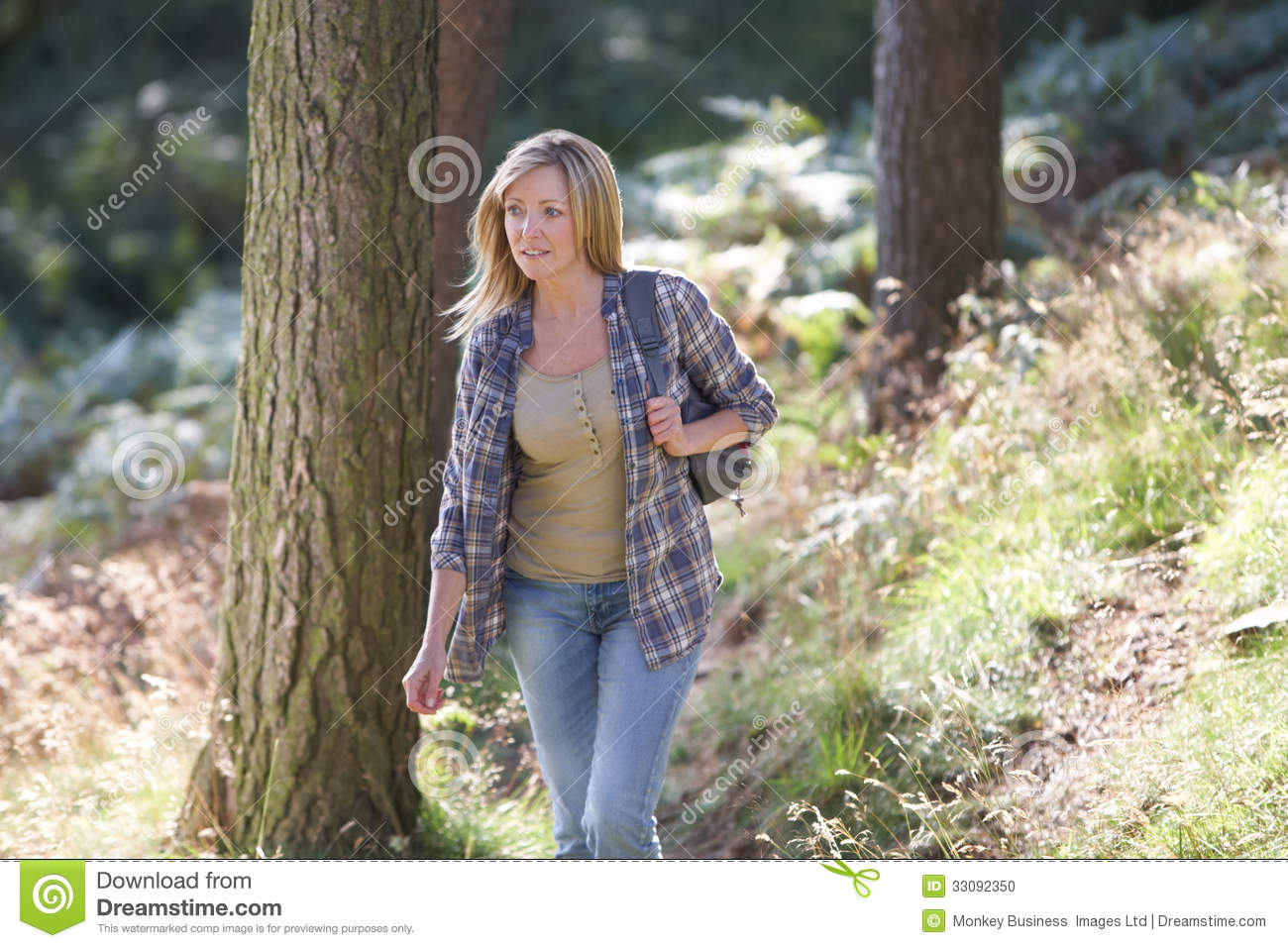 Woman On Country Walk Through Woodland Stock Photo - Image ...