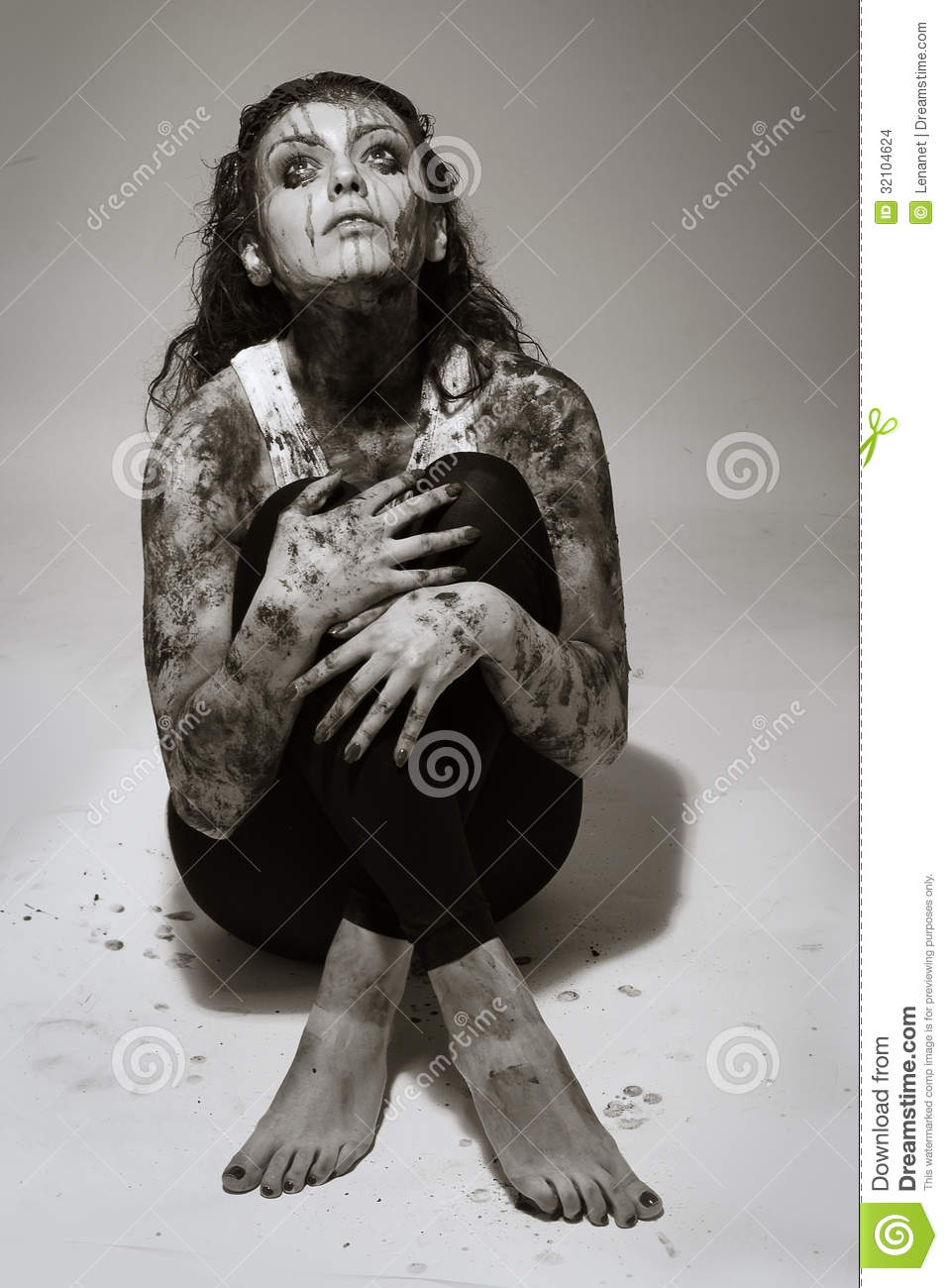 Woman Covered In Mud Stock Images - Image 32104624-7507