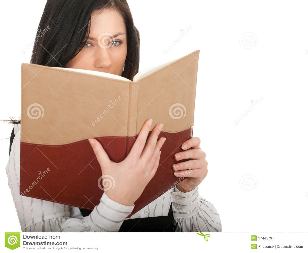 Book Covering Face : Woman covering face book royalty free stock photography