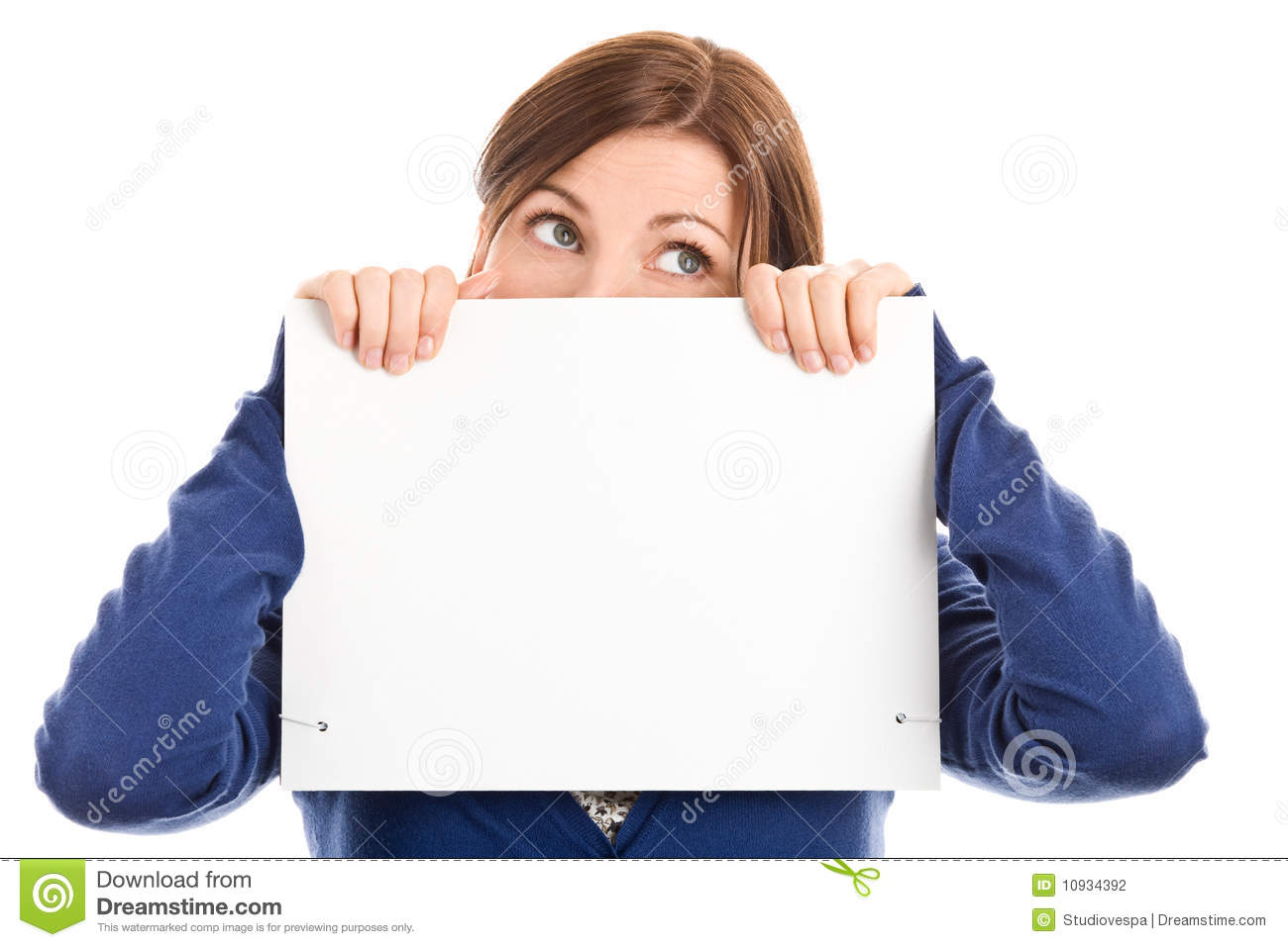 Woman covering face with note card