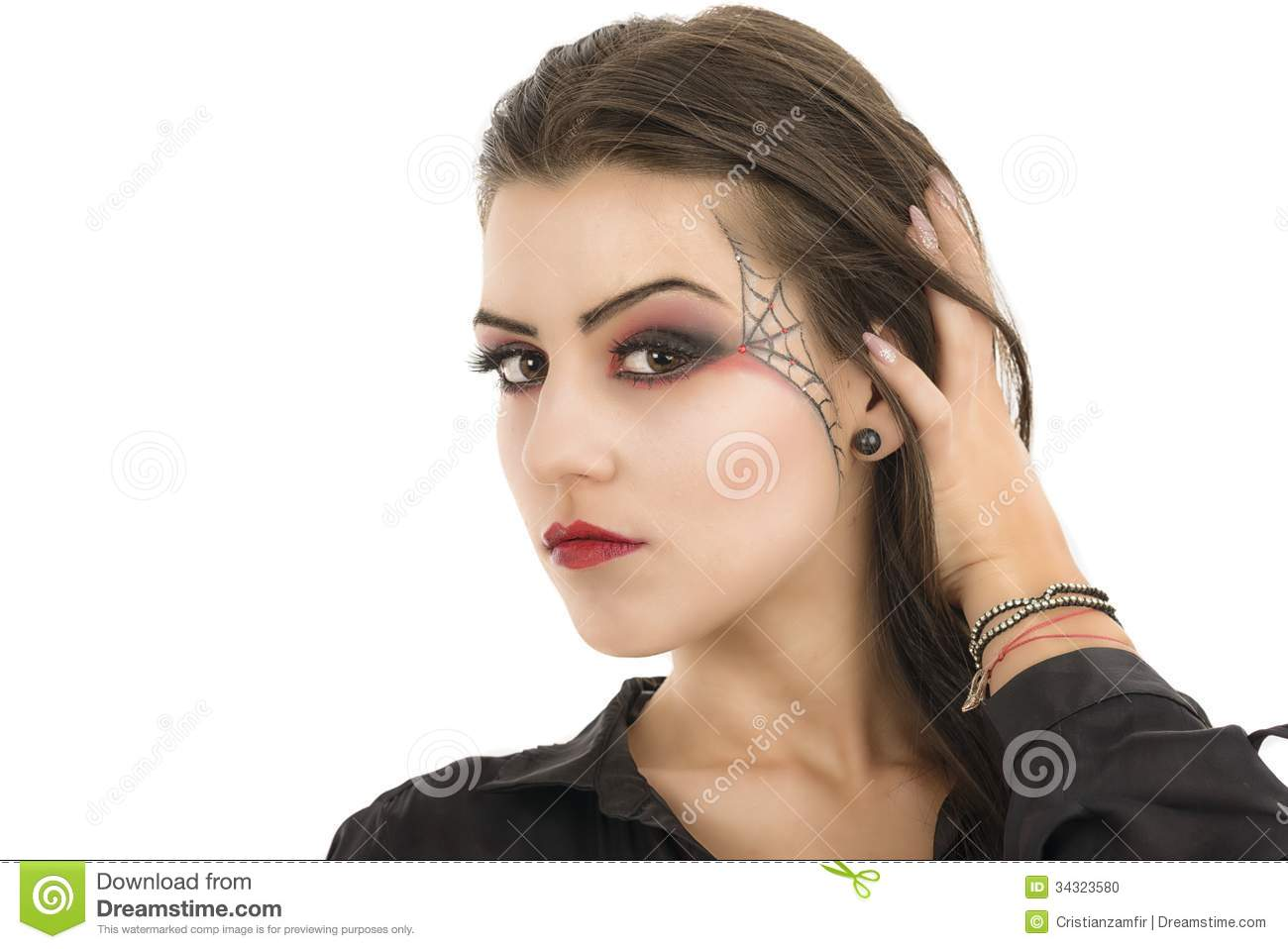 Woman With Creative Makeup Beauty Halloween Stock Photo Image Of