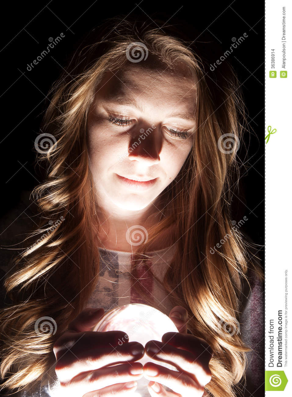 Woman Crystal Ball Close Light Stock Photo Image Of Hips
