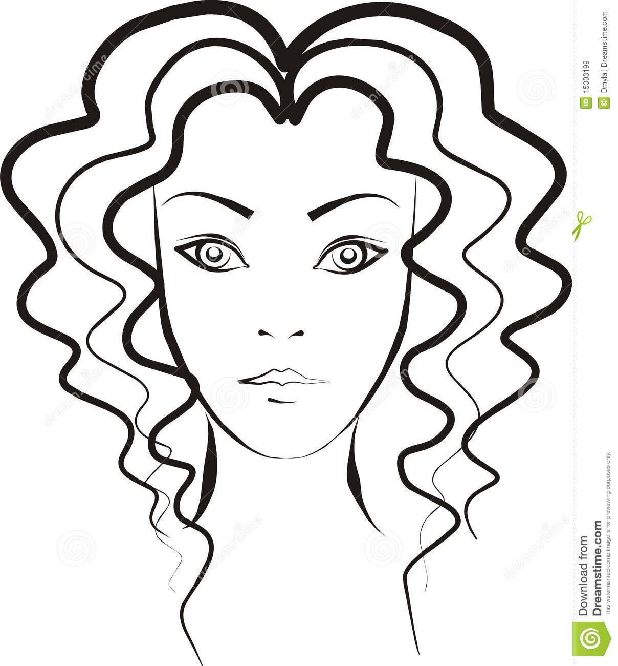 woman with curly hair stock vector  illustration of white