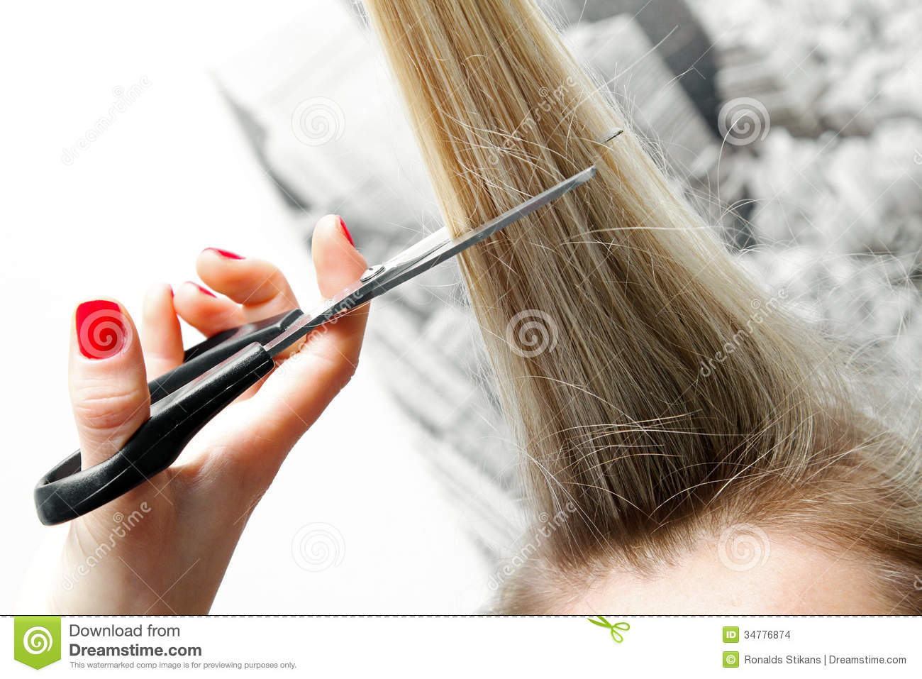 Woman Cutting Long Hair With Scissors Stock Photo Image