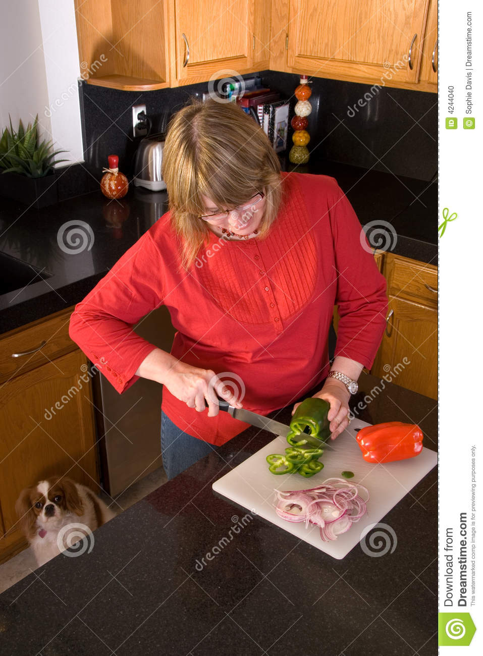 Woman Cutting Vegetables Stock Photo Image 4244040