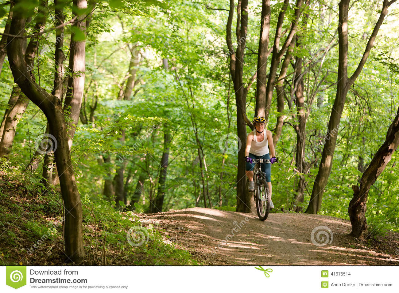 Woman is cycling