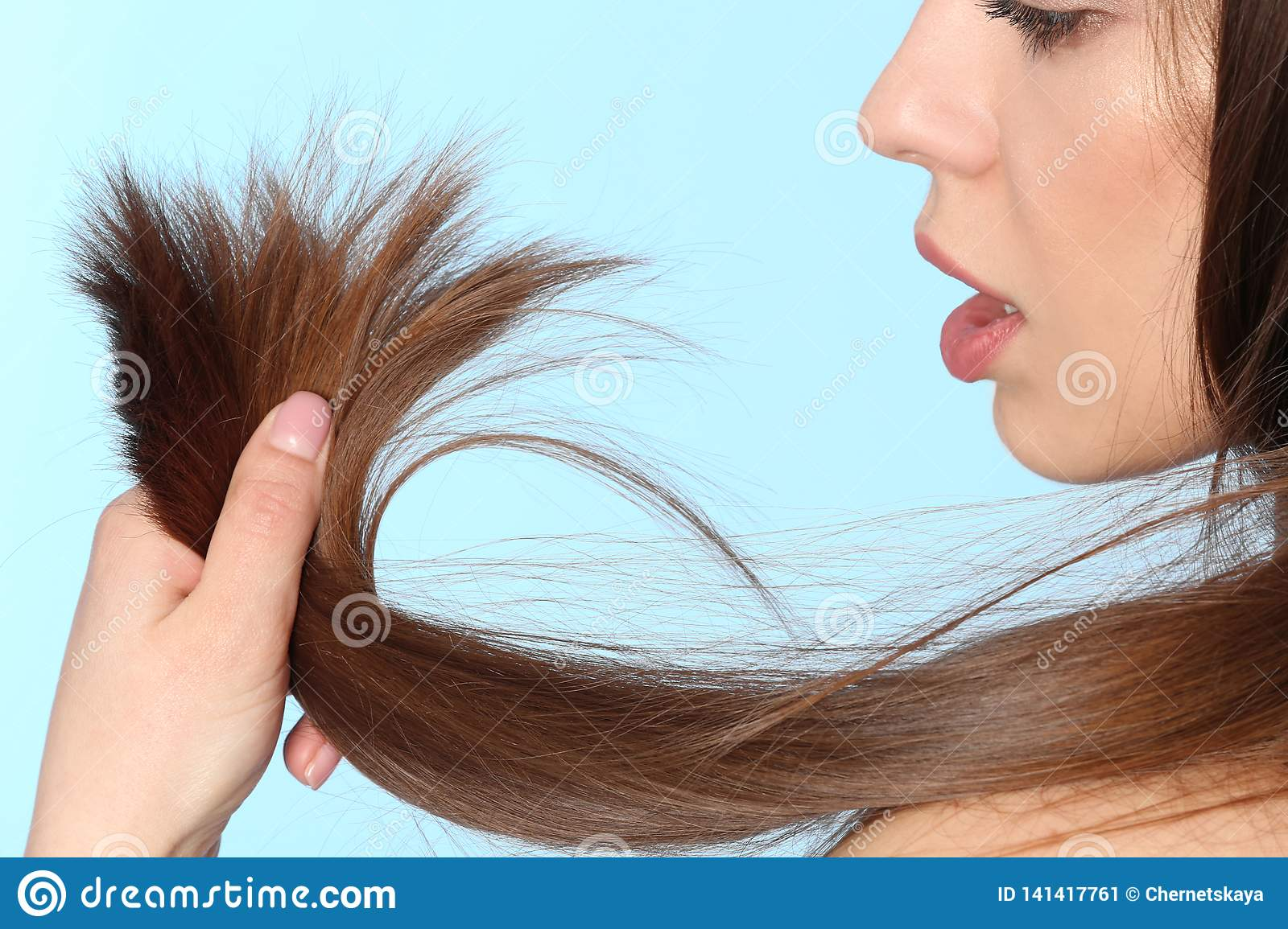 Woman With Damaged Hair On Color Background, Closeup. Stock Image ...